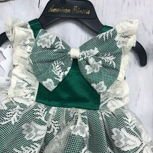 Infant Girls Green Dress with Cream Lace - S